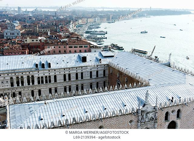 Venice from above with Doge's Palace, Veneto, Italy