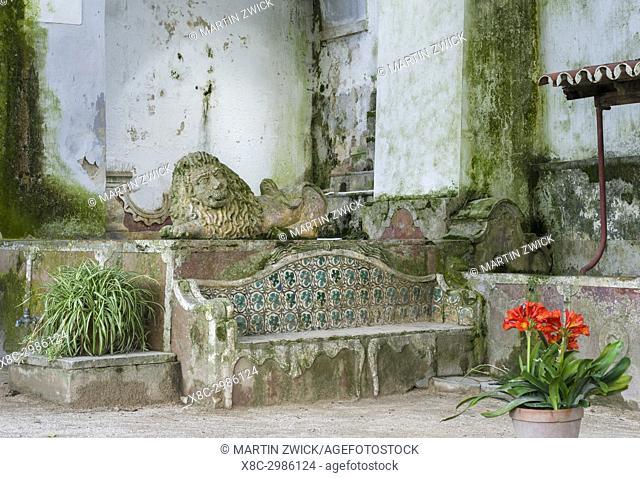 Palacio Nacional de Sintra, the national palace in Sintra, near Lisbon, part of the UNESCO world heritage. The garden of the black girl