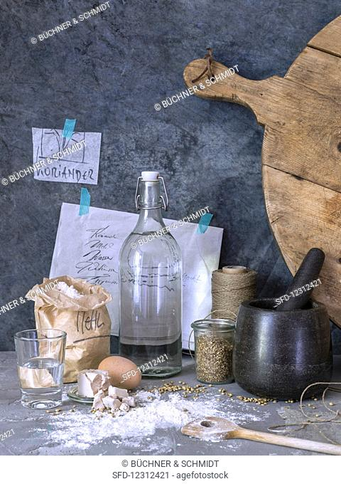 A still life of bread baking ingredients