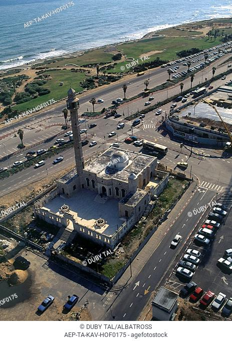 Aerial photograph of the Hassan Bek mosque in Tel Aviv