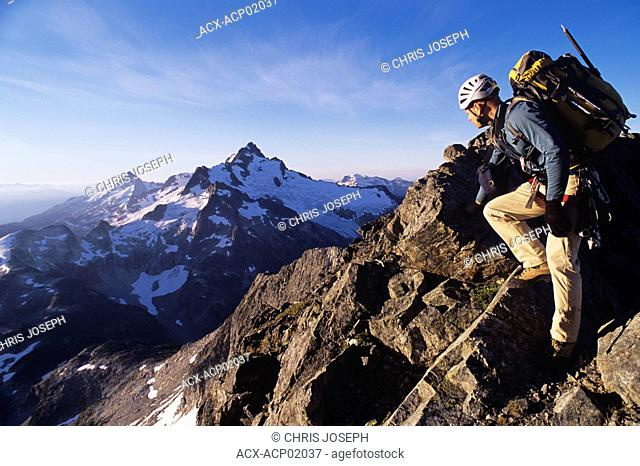 Climber on the Tantalus Traverse, Coast Mountains in southern British Columbia, Squamish, Canada