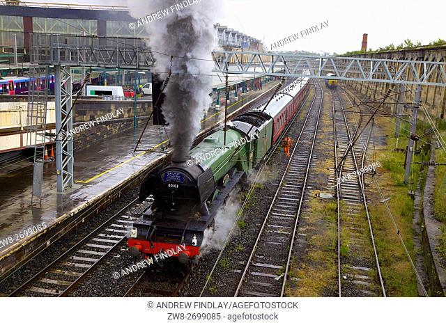 Steam train LNER A3 Class 4-6-2 no 60103 Flying Scotsman. Carlisle Railway Station, Carlisle, Cumbria, England, United Kingdom, Europe