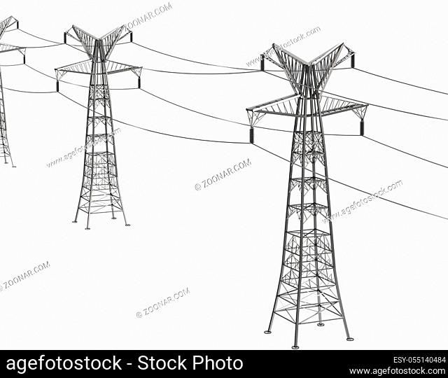 A 3d generated picture of electricity pylons
