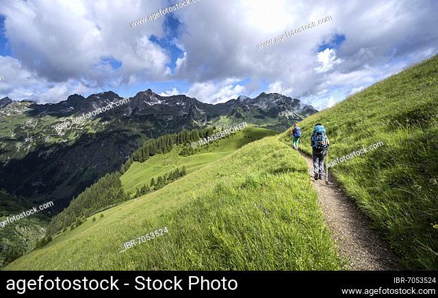 Two hikers on a hiking trail, mountains behind, Heilbronner Weg, Allgäu Alps, Oberstdorf, Bavaria, Germany, Europe