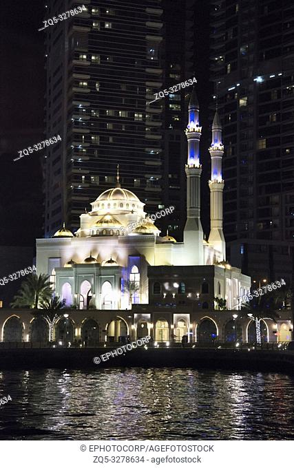 Small mosque in Abu Dhabi at night, UAE
