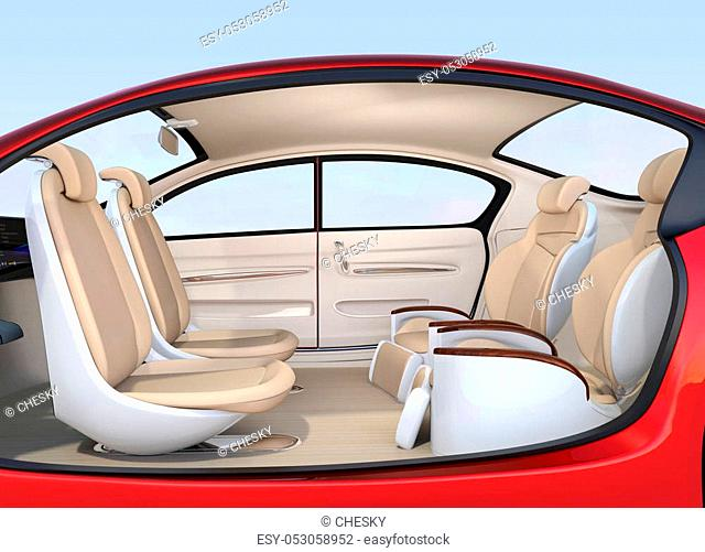 Business meeting seats' layout in autonomous car. Front seats turn to backward, and the rear seats have gorgeous reclining massage function