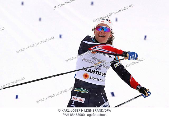 Maiken Caspersen Falla from Norway celebrates after the women's classic cross-country team sprint finals at the Nordic World Ski Championships in Lahti, Finland