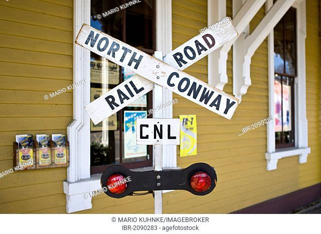 Information board of a railroad crossing, Conway Scenic Railroad, Conway, New Hampshire, USA