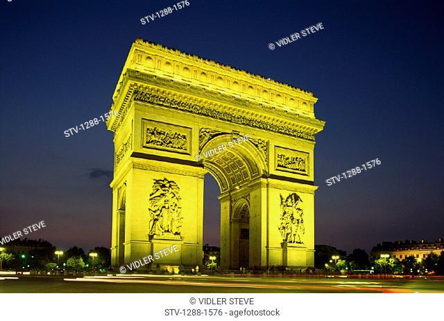 Arc, Arc de triomphe, Arch, France, Europe, Holiday, Landmark, Monument, Night, Paris, Tourism, Travel, Triomphe, Vacation