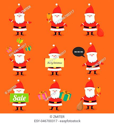 Set of Santa Claus. vector illustration. Merry christmas background