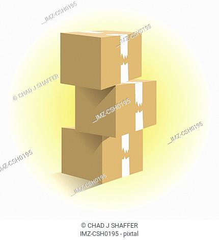 Three boxes stacked on top of one another