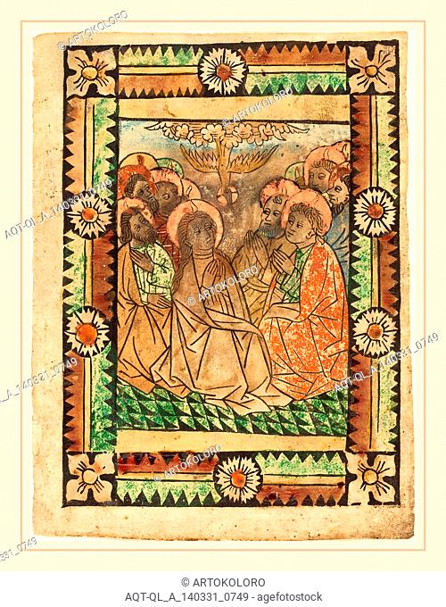 German 15th Century, The Descent of the Holy Ghost, c. 1450, woodcut, hand-colored in tan, brown, orange-red, green, rose, red lake, blue, and gold