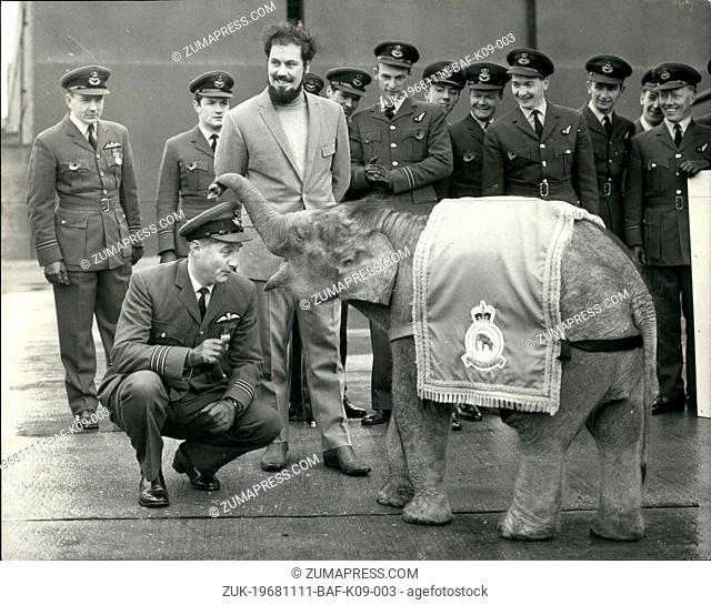 Nov. 11, 1968 - R.A.F. Squadron Adopts Elephant As Mascot: No. 27 Squadron of R.A.F. Strike Command, held a parade today at R.A.F