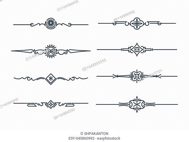 Set of 8 decorative text dividers