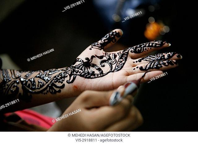 Women of Bangladeshi Social organization Dhakabashi arrange a Mehedi Fest at Dhaka to celebrate EID ul fitr