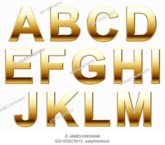 Shiny Gold Capitals on White