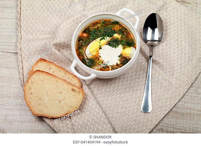 Fresh vitamin diet nettle soup with sour cream