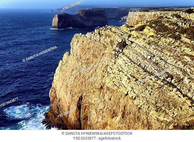 Monumental cliff coast seen from Cape St Vincent - Cabo de São Vicente, Costa Vicentina - Vicentine Coast, Sagres , Algarve, Portugal, Europe