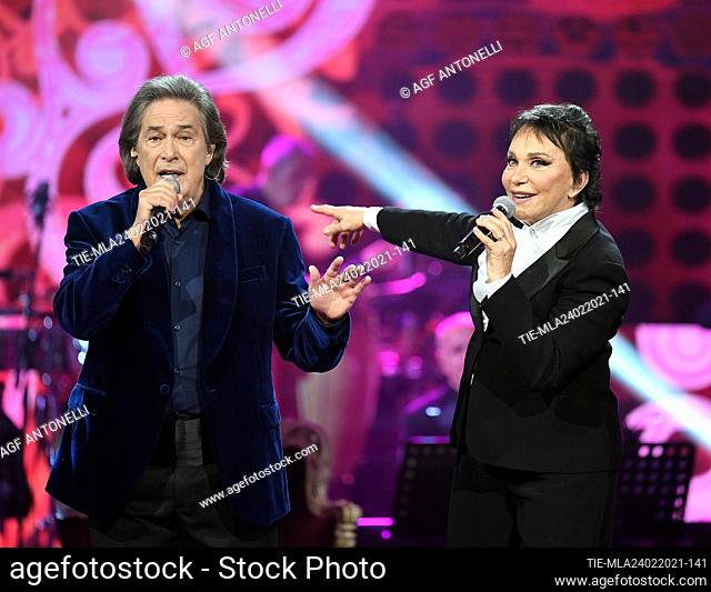 Musical group Ricchi e Poveri; Angelo Sotgiu, Angela Brambati . Special evening on Rai Uno Tv entitled 'Che Sara Sara', dedicated to the Ricchi e Poveri musical...