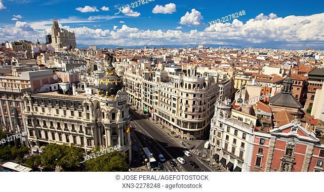 Gran Via and Metropolis building view from the roof of Círculo de Bellas Artes CBA, from Azotea del circulo, Madrid, Spain, Europe