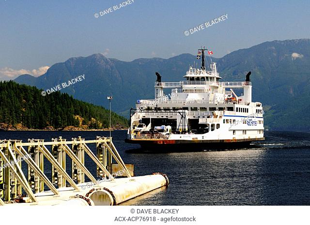 The BC Ferry, Island Sky, arriving at Earls Cove (near Sechelt) from Saltery Bay, near Powell River, BC