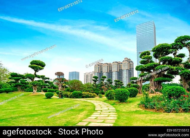 The financial area next to the lawn, tall buildings and trees. Nanning, China