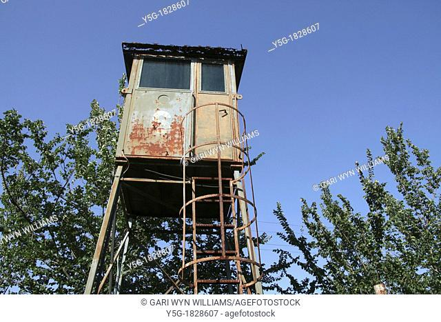 old abandoned military type watch tower in park in rome italy