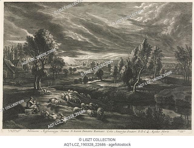 Landscape with Shepherd Playing a Flute. Schelte Adams Bolswert (Flemish, 1586-1659), Peter Paul Rubens (Flemish, 1577-1640). Engraving; sheet: 37