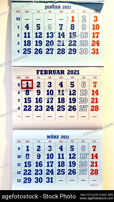 11 January 2021, Saxony, Leipzig: A calendar with the pages of January, February and March 2021 hangs in an office. Not a day too many