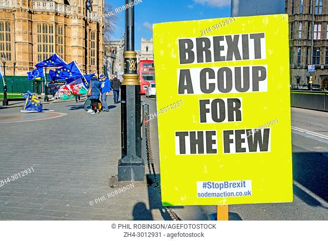 London, England, UK. Daily Anti-Brexit protest opposite the Houses of Parliament, organised by Steve Bray and others