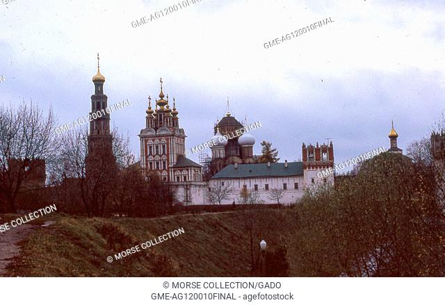 View facing south of church buildings within the walls of the Novodevichy Convent, in Moscow, Soviet Russia, USSR, November, 1973