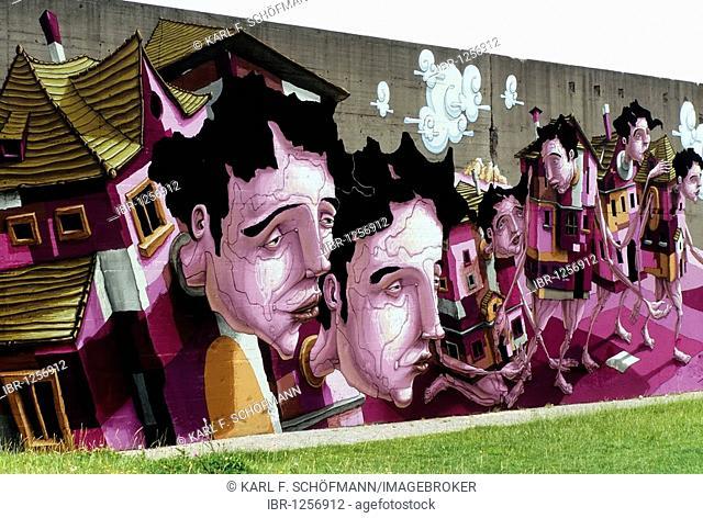House people, surrealistic vision by the Karlsruhe graffiti artist Christian Kraemer aka Dome, Rheinpark, Duisburg-Hochfeld, Ruhr Area, North Rhine-Westphalia