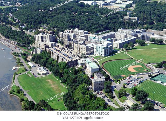Aerial view of United States Military Academy buildings of West Point on riverside of Hudson river, New York state, Usa