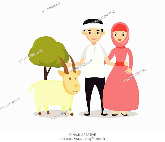 Isolated Muslim Couple Eid Al Adha Character - Healthy Lamb For Qurban