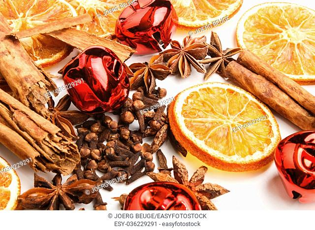christmas spices and decoration on a white background
