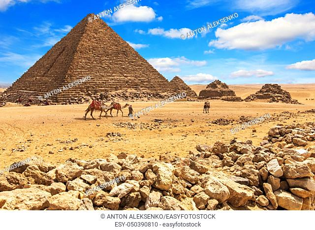 The Pyramid of Menkaure and the Pyramids of his queens, Giza, Egypt