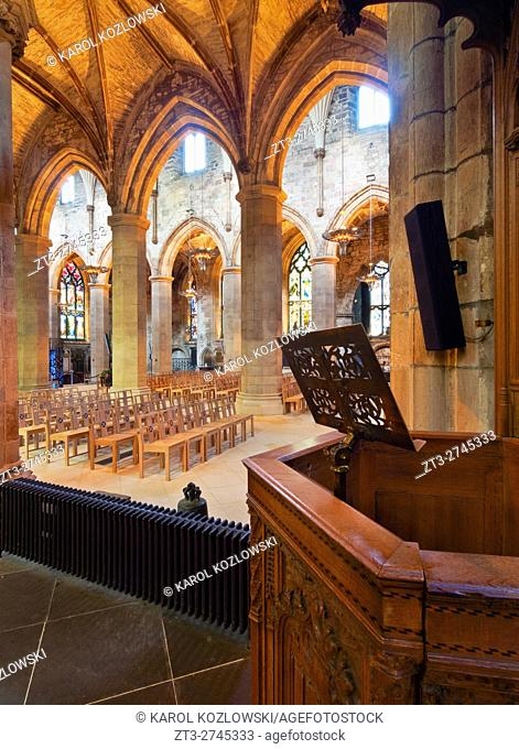UK, Scotland, Lothian, Edinburgh, Interior view of the St Giles' Cathedral.