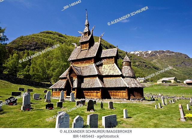 The stave church Borgund is one of the finest examples of the Norwegian art of stave construction, Norway, Scandinavia, Europe