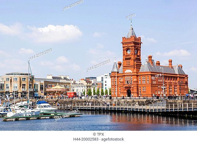 Wales, Cardiff, Cardiff Bay, Pierhead Building and Mermaid Quay