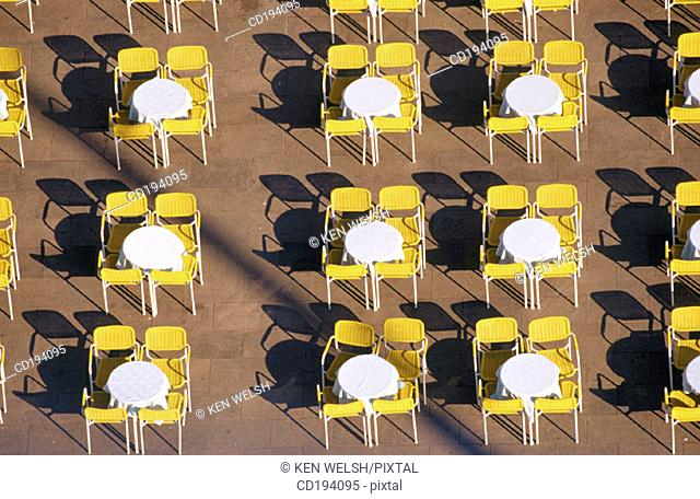 Empty tables and chairs. St. Mark's Square. Venice. Italy
