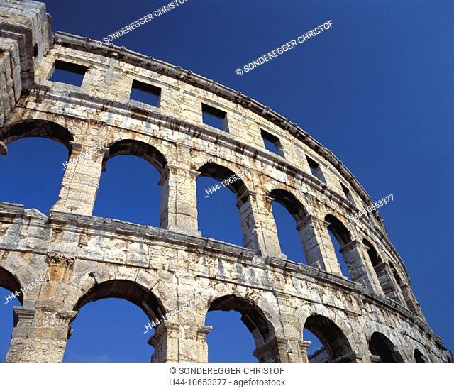 10653377, amphitheater, Ancient world, antiquity, arcades, detail, facade, historical, Istria, Croatia, Roman, Roman, town, ci