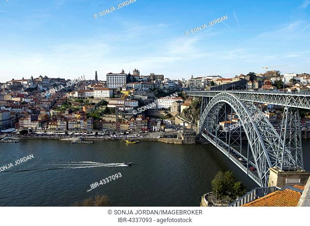 Overlooking Ponte Dom Luís I and historic centre of Ribeira, Porto, Portugal