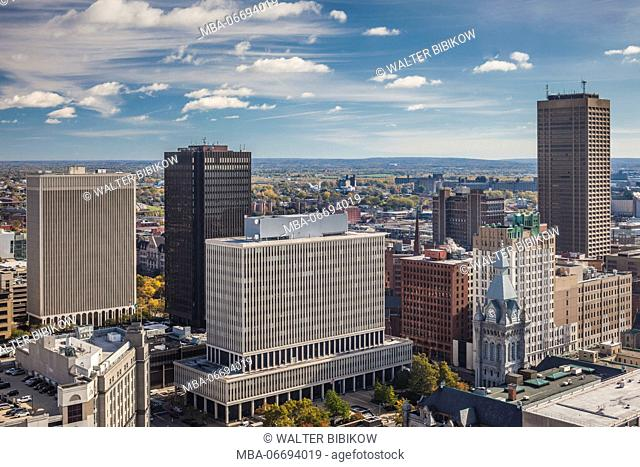 USA, New York, Western New York, Buffalo, elevated view of downtown