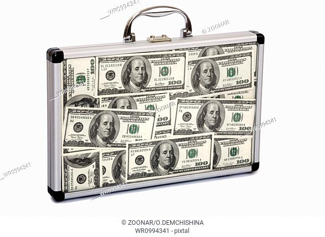 Suitcase filled dollars
