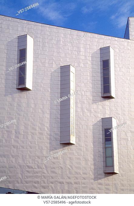 Detail of the facade. Palacio de Ferias building, Malaga, Spain