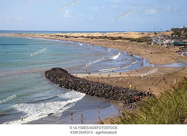 Maspalomas promenade and Playa del Ingles, Gran Canaria island, Canary archipelago, Spain, Europe