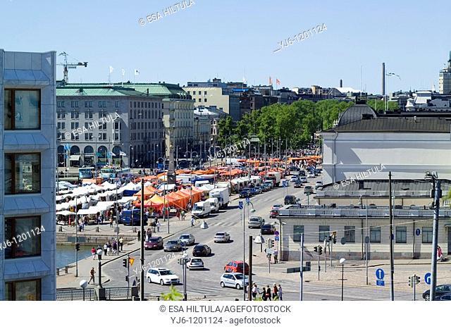 Aerial view of Market square Kauppatori Helsinki Finland