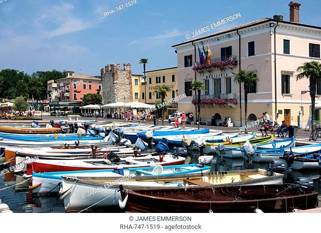 Boats moored in the harbour at Bardolino, Lake Garda, Italian Lakes, Lombardy, Italy, Europe