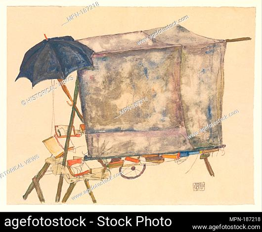 Street Cart. Artist: Egon Schiele (Austrian, Tulln 1890-1918 Vienna); Date: 1914; Medium: Watercolor, gouache, and graphite on paper; Dimensions: 12 3/8 x 18...