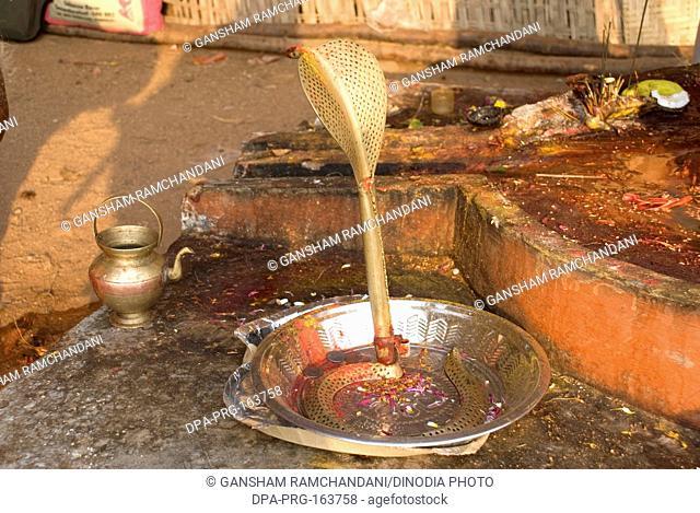 Brass snake at shivlinga on mahashivaratri celebration at Keesaragutta ; Hyderabad ; Andhra Pradesh ; India NO PR